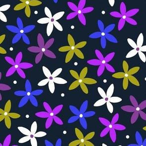 Simple Scandinavian Folk Art Floral Pattern   Blue & Purple