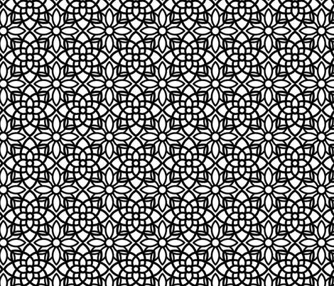 Geometric Black and White Flower Pattern fabric by silveroakdesign on Spoonflower - custom fabric