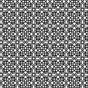 Geometric Black and White Flower Pattern
