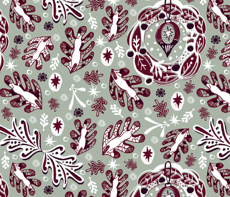 Winter Leaves fabric by slumbermonkey on Spoonflower - custom fabric