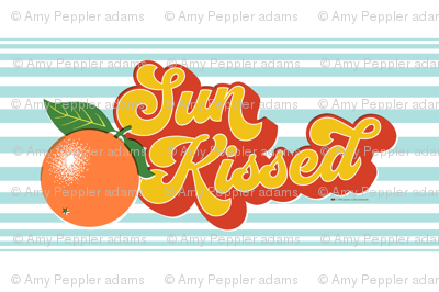 Sun Kissed Tea Towel* || orange oranges typography 70s 1970s seventies retro groovy vintage cut and sew kitchen summer Florida fruit