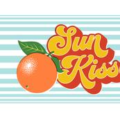 Sun Kissed Tea Towel* || orange oranges typography 70s 1970s seventies retro groovy vintage cut and sew kitchen summer Florida fruit