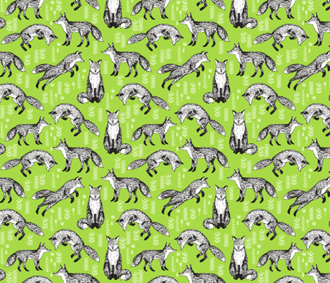 fox // woodland fox lime green cute forest  fabric by andrea_lauren on Spoonflower - custom fabric