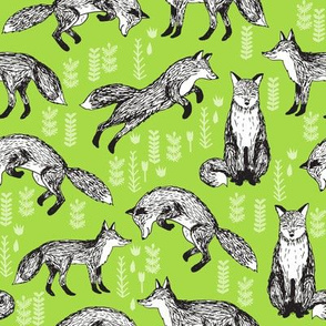fox // woodland fox lime green cute forest