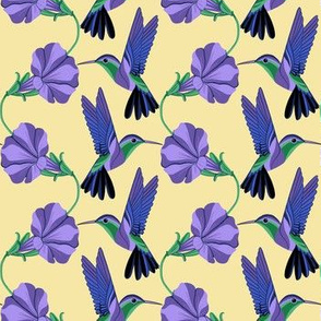 Purple hummingbirds and flowers