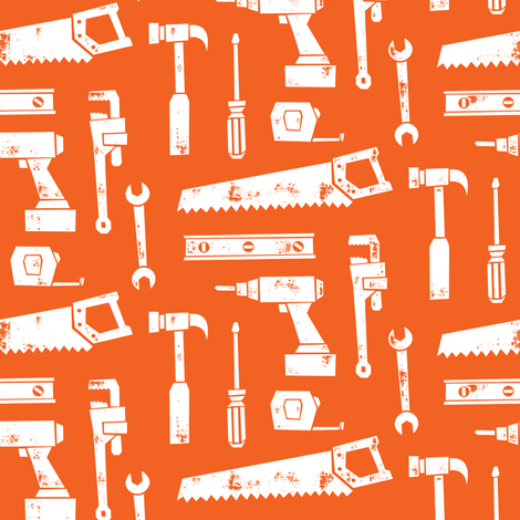 tools - orange fabric by littlearrowdesign on Spoonflower - custom fabric