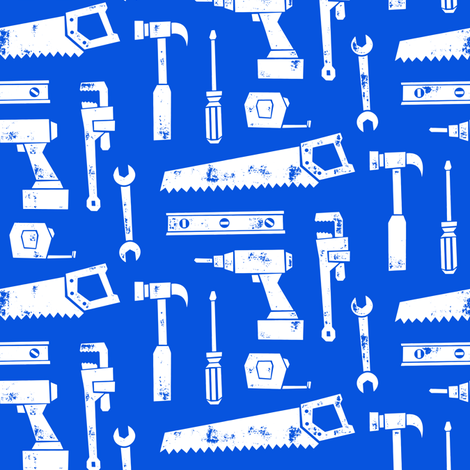 tools - blue fabric by littlearrowdesign on Spoonflower - custom fabric