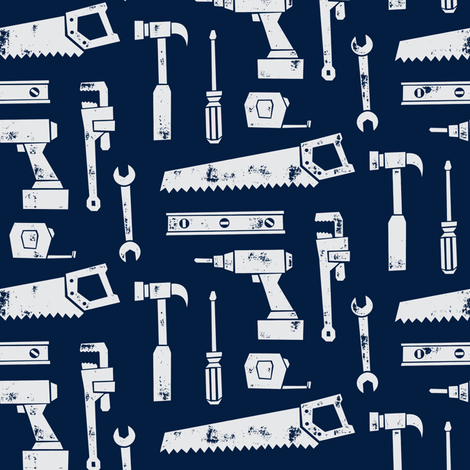 tools - navy fabric by littlearrowdesign on Spoonflower - custom fabric