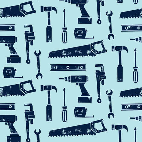 tools - navy on light blue fabric by littlearrowdesign on Spoonflower - custom fabric