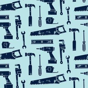 tools - navy on light blue