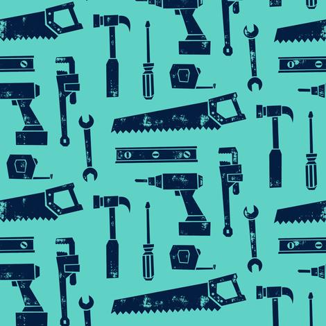 tools - aqua fabric by littlearrowdesign on Spoonflower - custom fabric