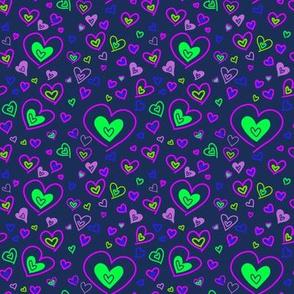 Neon Hearts Violet