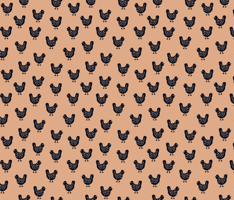 Chooks Revisited - terracotta fabric by janetdrummond on Spoonflower - custom fabric