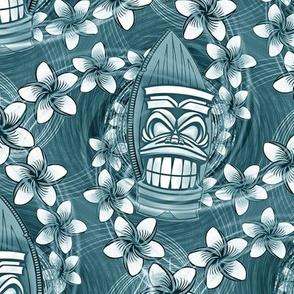 ★ HAWAII TIKI ★ Blue - Medium Scale / Collection : Hawaiian Trip - Plumeria & Tiki for Aloha Shirt Print