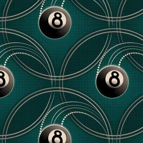 ★ MAGIC EIGHT BALL ★ Teal - Large Scale / Collection : 8 Balls - Billiard & Rock 'n' Roll Old School Tattoo Print