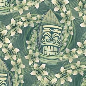 ★ HAWAII TIKI ★ Green - Medium Scale / Collection : Hawaiian Trip - Plumeria & Tiki for Aloha Shirt Print