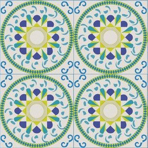 Green Blue Moroccan Tile