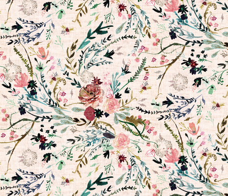 Fable Floral (LRG) (blush) fabric by nouveau_bohemian on Spoonflower - custom fabric