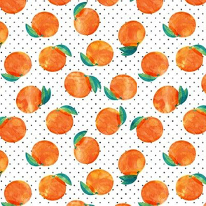 (small scale) watercolor clementine on polka dots