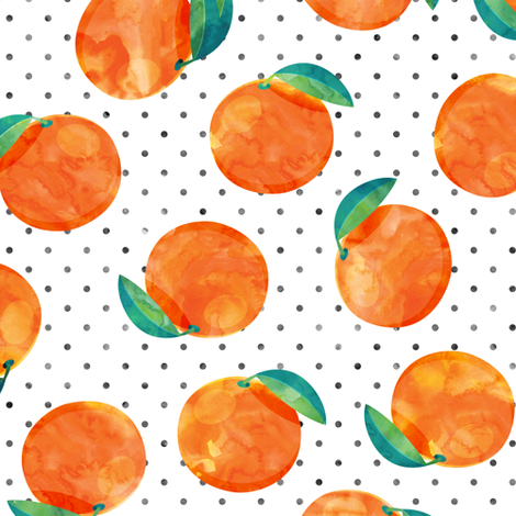 watercolor clementine on polka dots fabric by littlearrowdesign on Spoonflower - custom fabric