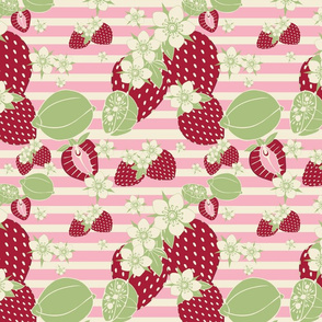 STRAWBERRIES, GREEN, PINK AND WHITE STRIPES, FLOWERS
