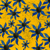 Blue Spiral Flowers on Gold