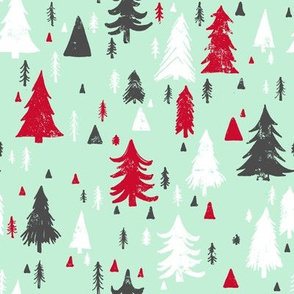 Mint, Grey and Red Pine Trees