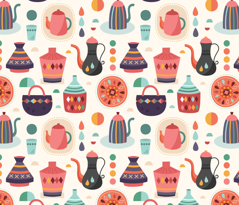 Baskets_and_tea fabric by la_fabriken on Spoonflower - custom fabric