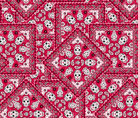 Skull-Bandana-Mexican-red fabric by paisleypower on Spoonflower - custom fabric