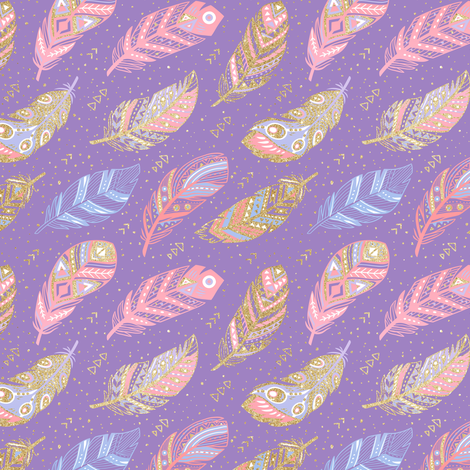 Romantic feathers fabric by penguinhouse on Spoonflower - custom fabric