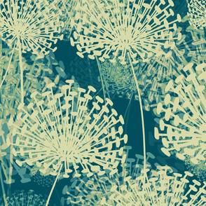 Vintage Blue Dandelions