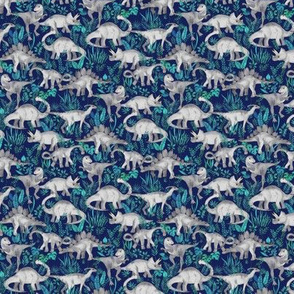 Extra Tiny Dinosaur Jungle Dark Blue Purple Background