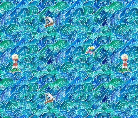 Ocean fabric by chescaspring on Spoonflower - custom fabric