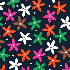 Simple Scandinavian Folk Art Floral Pattern   Autumn Pink & Green