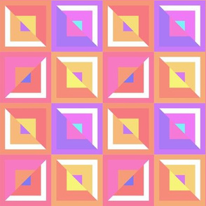 Abstract Geometric Pattern - Pink & Orange