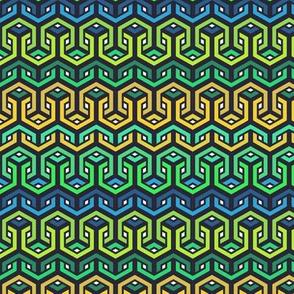 Geometric Bullseye Pattern - Blue & Green