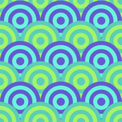 Geometric Bullseye Pattern - Blue & Green