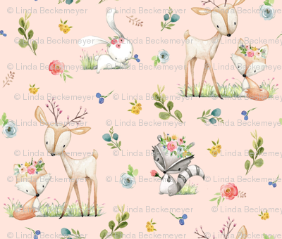 Woodland Friends (pink) Deer Fox Raccoon Flowers Baby Girl Nursery Blanket Sheets Bedding