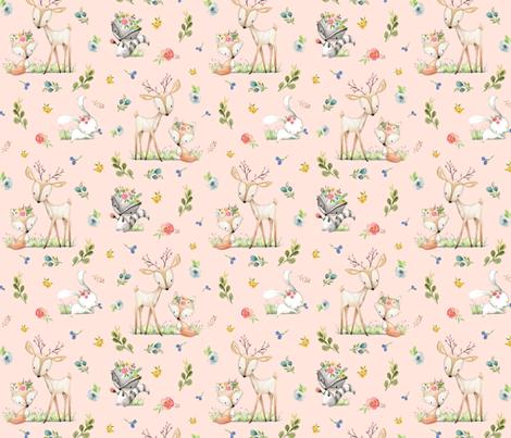 Woodland Friends (pink) Deer Fox Raccoon Flowers Baby Girl Nursery Blanket Sheets Bedding fabric by gingerlous on Spoonflower - custom fabric