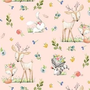 Woodland Friends (shell pink) Deer Fox Raccoon Flowers Baby Girl Nursery Blanket Sheets Bedding