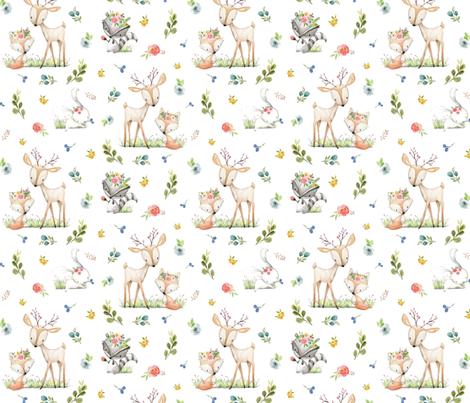 Woodland Friends - Deer Fox Raccoon Bunny Flowers Baby Girl Nursery Blanket Sheets Bedding fabric by gingerlous on Spoonflower - custom fabric