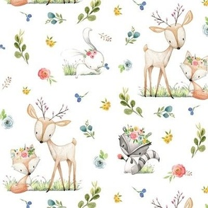Woodland Friends - Deer Fox Raccoon Bunny Flowers Baby Girl Nursery Blanket Sheets Bedding