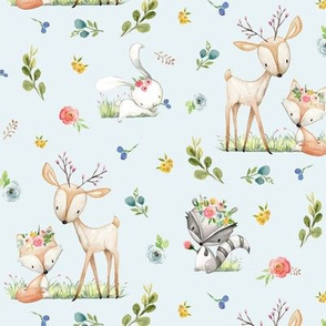 Woodland Friends (blue) - Deer Fox Raccoon Bunny Flowers Baby Girl Nursery Blanket Sheets Bedding