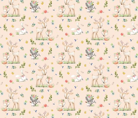 Woodland Friends (blush) Deer Fox Raccoon Flowers Baby Girl Nursery Blanket Sheets Bedding fabric by gingerlous on Spoonflower - custom fabric