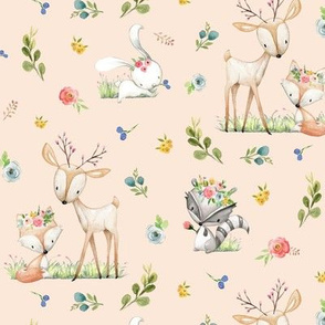 Woodland Friends (blush) Deer Fox Raccoon Flowers Baby Girl Nursery Blanket Sheets Bedding