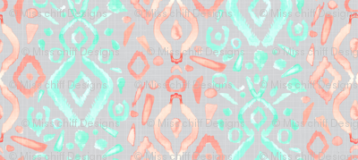 Coral Peach Blush  Mint Green Ikat Watercolor Abstract Grey Gray Linen Texture _ Miss Chiff Designs