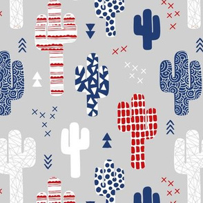 Cool western geometric cactus garden with triangles and arrows gender neutral usa 4th of july red blue and white