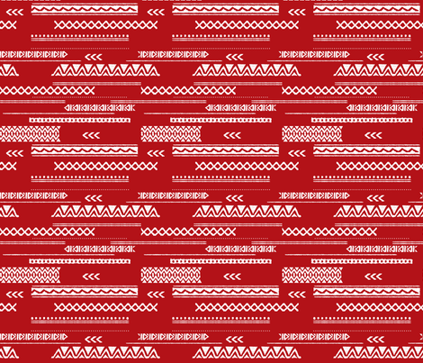 Native aztec design ethnic red national holiday usa 4th of July print red fabric by littlesmilemakers on Spoonflower - custom fabric