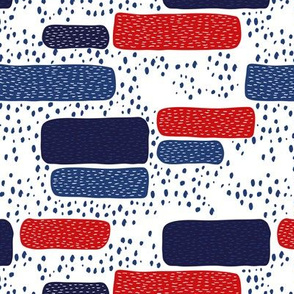Abstract stripes and dots pattern american national colors 4th of July design