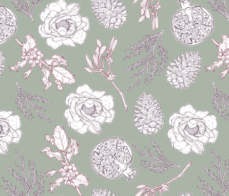 Limited Color Holiday Botanical Illustrations fabric by landpenguin on Spoonflower - custom fabric